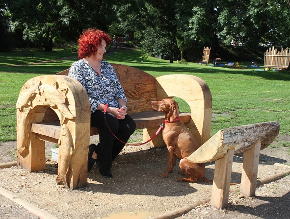 Tuckton Bench women with dog