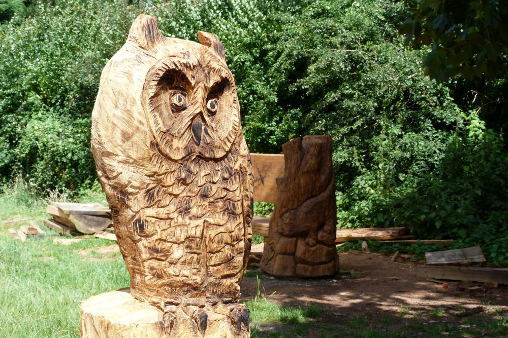 Wood sculpture of owl
